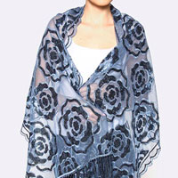 Sequin Rose Design Oversized Mesh Scarf