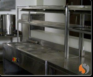 Bain Marie Pick Up Counter with Warmer on Over Head Shelves