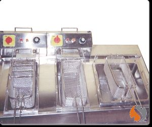 Table Top Double Deep Fat Fryer with Oil Drain Basket
