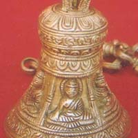 Hanging Brass Engraved Lord Buddha Bell with Brass Chain for Budddhist Temple