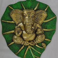 Lord Ganesha Leaf Metal Wall Decor
