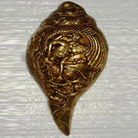 Lord Vishnu Conch Shankh Brass Made Religious Sculpture Statue Temple Worship