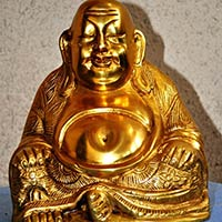 Sitting Laughing Buddha Brass Statue
