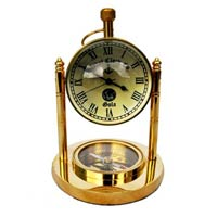 Table Clock with Compass On Base