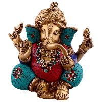 Turquoise Work  Lord Ganesha Wearing Turbon Brass Statue
