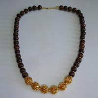 Brass Beads Necklace with Wooden Beads