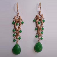 Faceted Glass Bead Long Fashion Earrings