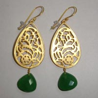 Filigree Earrings with Glass Beads