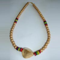 Triangular Brass Big Bead with Wooden Beads Necklace