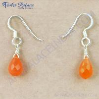 Celeb Style Carnelian Gemstone Silver Earrings