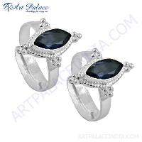Indian Designer Iolite Gemstone Silver Toe Rings