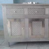 White Metal Embossed Chest Drawer