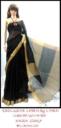 Linen Saree with Blouse add trendy fashion