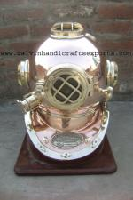 Mark V Copper Diving Helmet with Wooden Base