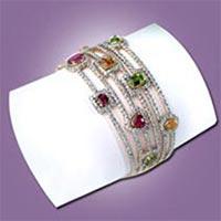 Diamond Studded Silver Broad Bangles