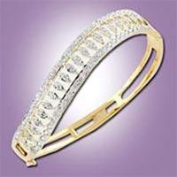 Diamond Studded Silver Simple Bangles