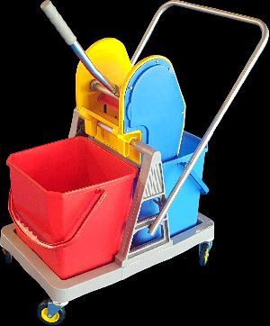 36L Double Bucket Mop Wringer Trolley