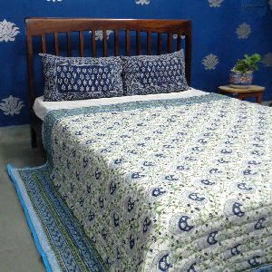 PAN LEAF BLUE 0581 handmade Block Printed Cotton Quilt Double Bed