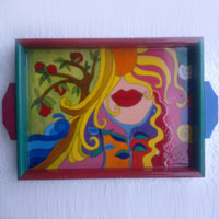 Hand Painted Wooden Tray 01