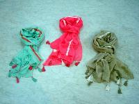 Cotton Solid Color Scarves  with lace and tassals (EC-3391)