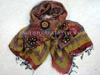 Wool Jacquard Scarves with embroidery (EC-4712)
