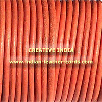 Orange Round Leather Cord