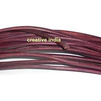 Plum Semi Round Leather Cord