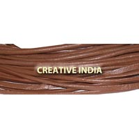 Red Brown Semi Round Leather Cord