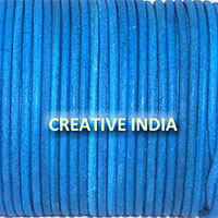 Royal Blue Plain Round Leather Cord