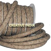 Stitched Round Nappa Leather Cord (C047)