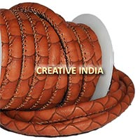 Stitched Round Nappa Leather Cord (C052)