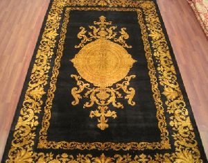 Black Gold Silk On Cotton Carpets