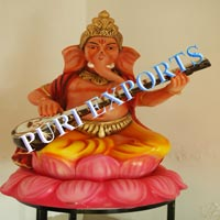 Ganesha with Sitar Welcome Fiber Statue