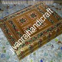 Golden Meenakari Jewellery Box (12x10)