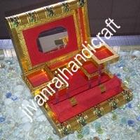Golden Meenakari Jewellery Box (7x9)