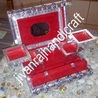 Silver Meenakari Jewellery Box (11x8)