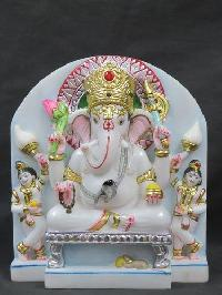 White Marble Ganesh Statue 16