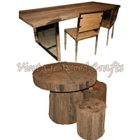 Log Wood Dining Table Set