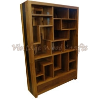 Wooden Bookshelf With Mix Match Pattern
