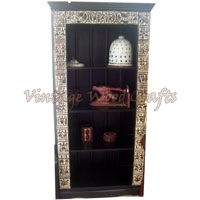 Wooden Bookshelf with Orissa Work
