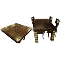 Wooden Dining Table Set with Orissa Work Blocks