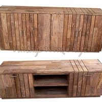 Wooden Sideboard with Groove Designs