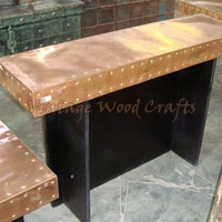 Wooden Study Table Wrapped with Brass Cover
