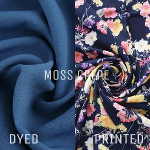 Polyester Moss Crepe Dyed And Printed Fabric