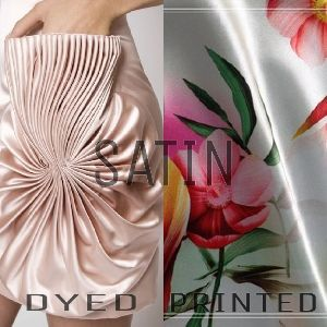 Polyester Satin Dyed And Printed Fabric
