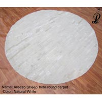 Areezo Sheep Hide Round Carpet (Natural White)