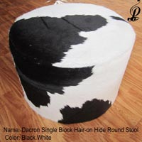 Dacron Hair-on Round Stool (Black & White)