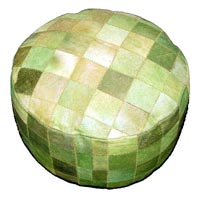 Hair-on Hide Pouf (Green)