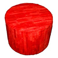 Hair-on Hide Pouf (Red)