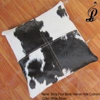 Strop Four Block Hair-on Hide Cushion (white & Brown)